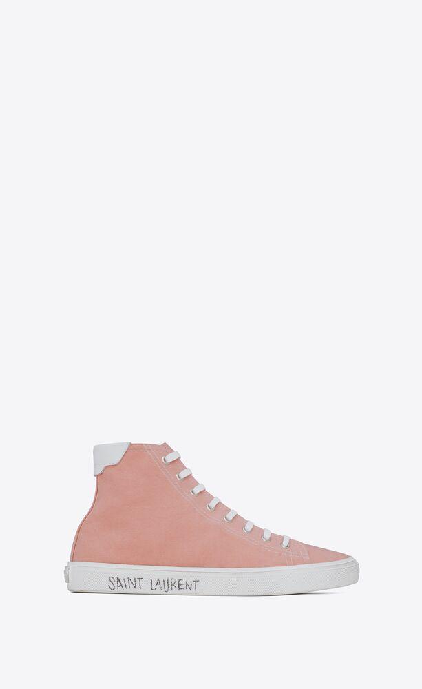 malibu sneakers mi-hautes en cuir et toile