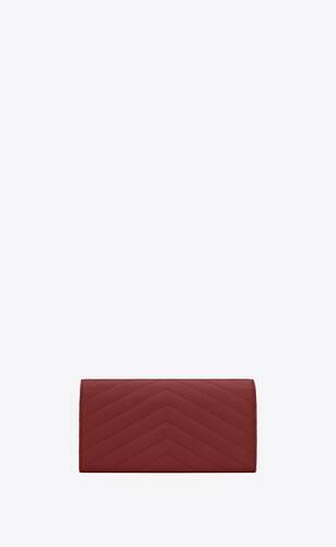monogram großes portemonnaie aus gestepptem leder mit überschlag und grain-de-poudre-prägung