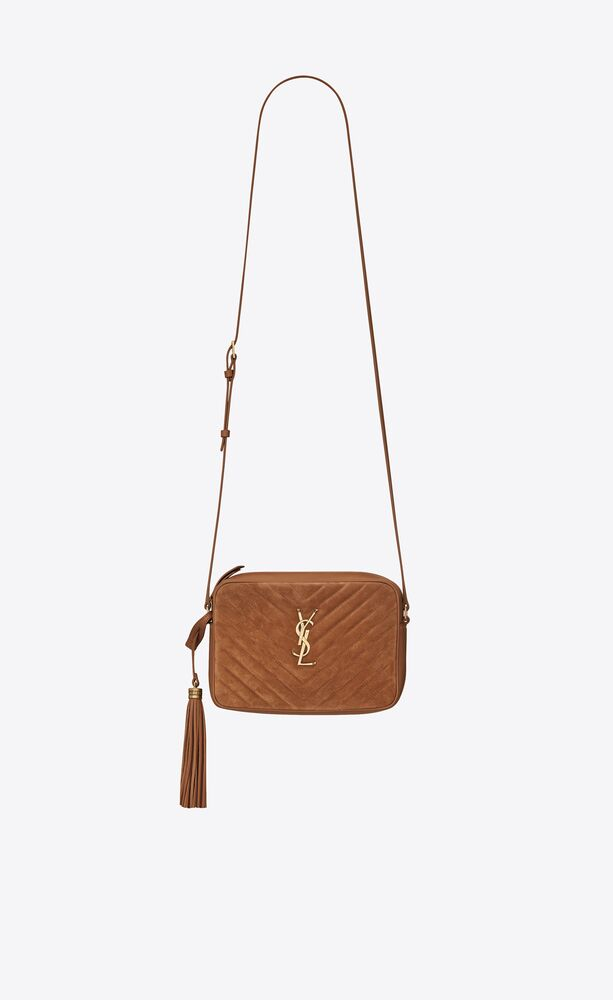 lou camera bag in quilted suede and smooth leather