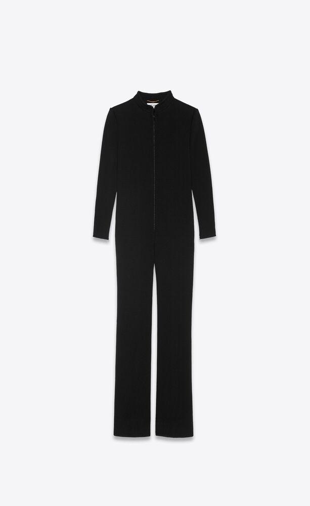 zipped jumpsuit in wool jersey