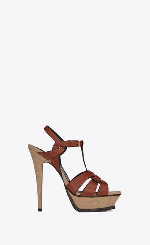 tribute platform sandals in leather and burlap