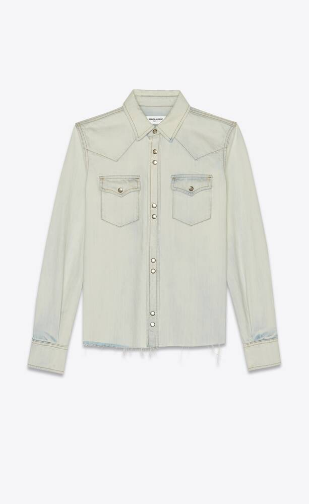 classic western shirt in bleached blue stretch denim