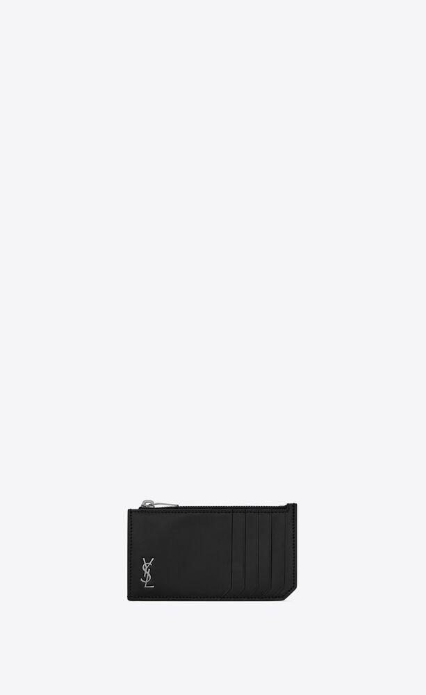 tiny monogram fragments kartenetui mit reißverschluss aus mattem leder