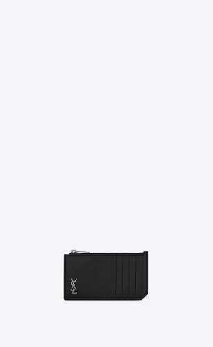 tiny monogram fragments zip card case in matte leather