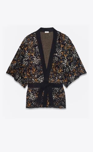 kimono en maille jacquard à motif tigres abstrait