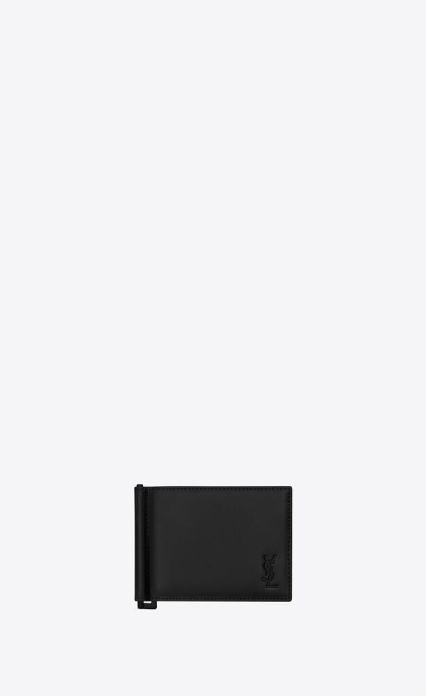 tiny monogram brieftasche mit geldklammer aus mattem leder