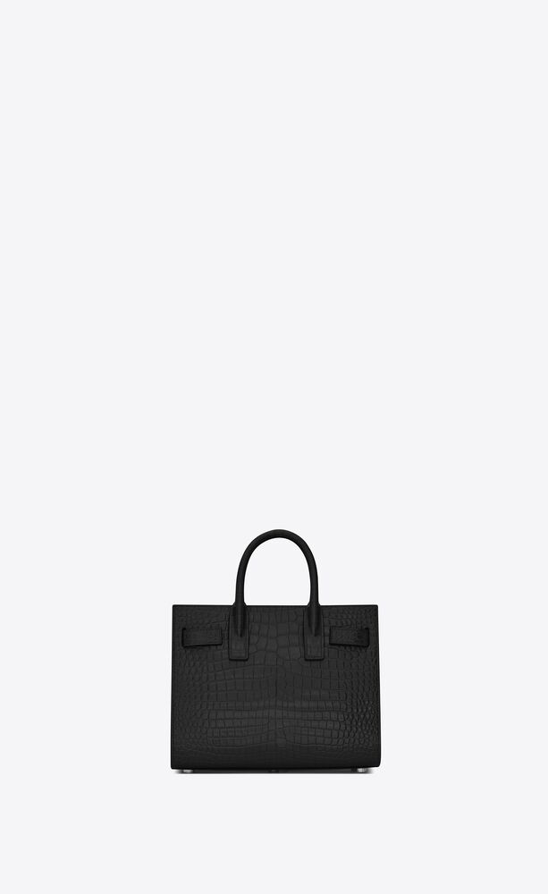 nano sac de jour tasche aus schwarzem leder mit krokodilprägung
