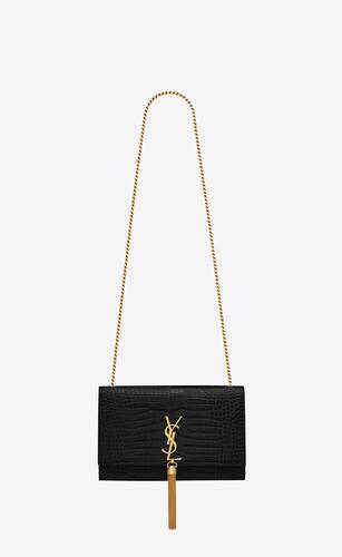 kate medium with tassel in crocodile-embossed shiny leather