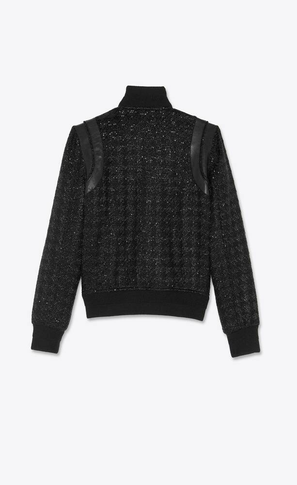 teddy jacket in lamé houndstooth with sequins