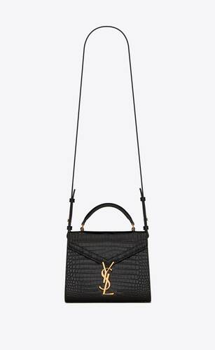 cassandra mini top handle en cuir brillant embossé crocodile