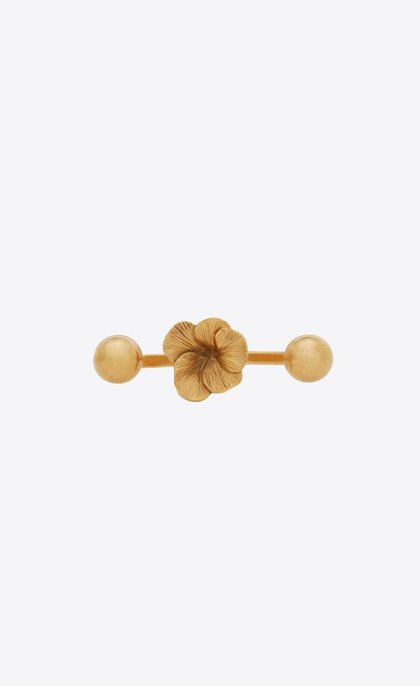 hibiscus open knuckle duster ring in metal