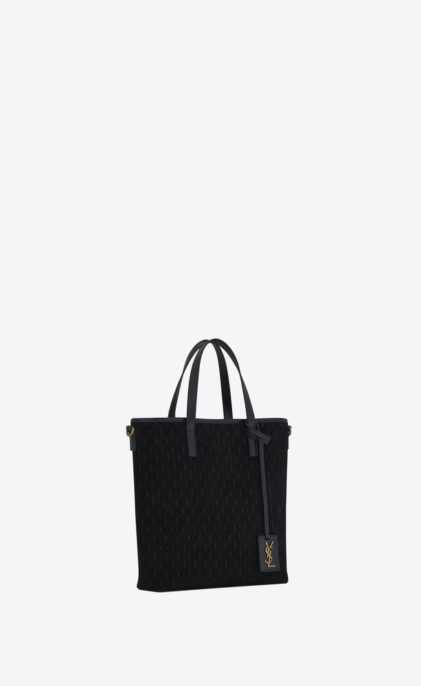 monogram saint laurent n/s toy shopping bag in suede and smooth leather
