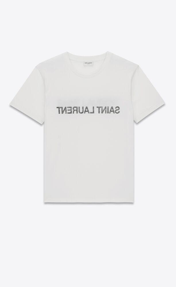 t-shirt mit spiegelverkehrtem saint laurent logo