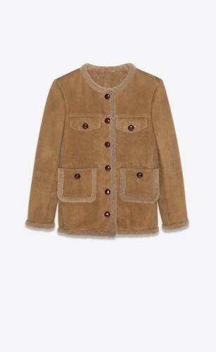 veste courte en suède et shearling