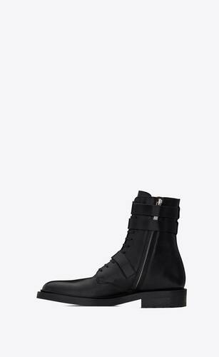 army boots in kangaroo-embossed leather