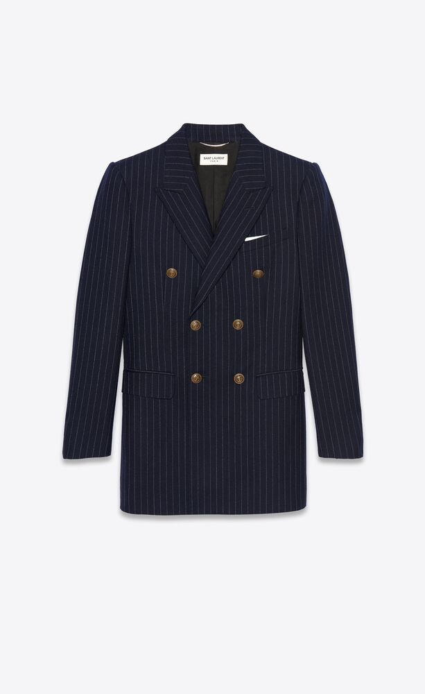 double-breasted tailored jacket in rive gauche striped wool flannel