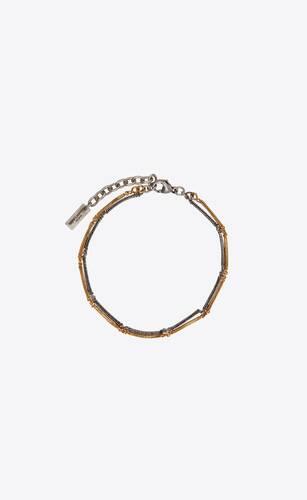 two-tone double herringbone chain bracelet in metal