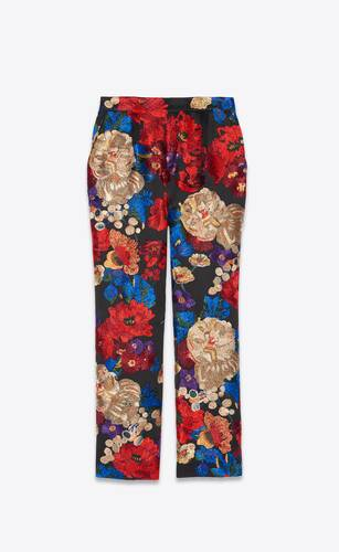 wide-leg pants in embroidered satin crepe