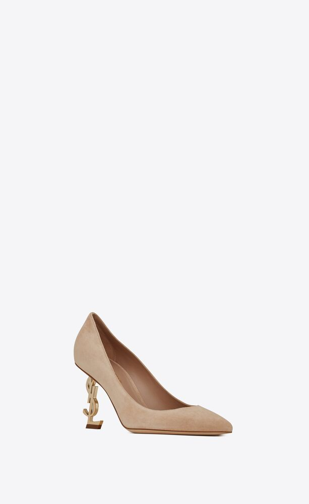 opyum pumps in suede with pale gold-tone heel