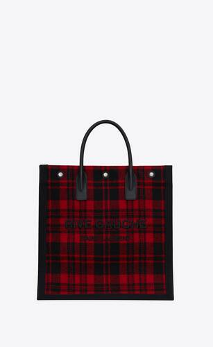 rive gauche n/s tote bag in embroidered tartan
