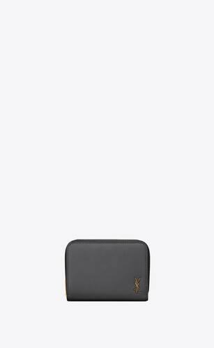 tiny monogram kompaktes portemonnaie mit reißverschluss aus genarbtem leder