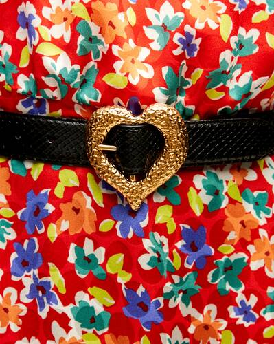 heart belt in lacquered python