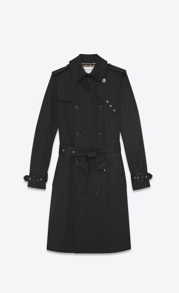 zweireiher-trenchcoat aus schwarzem gabardine mit gürtel