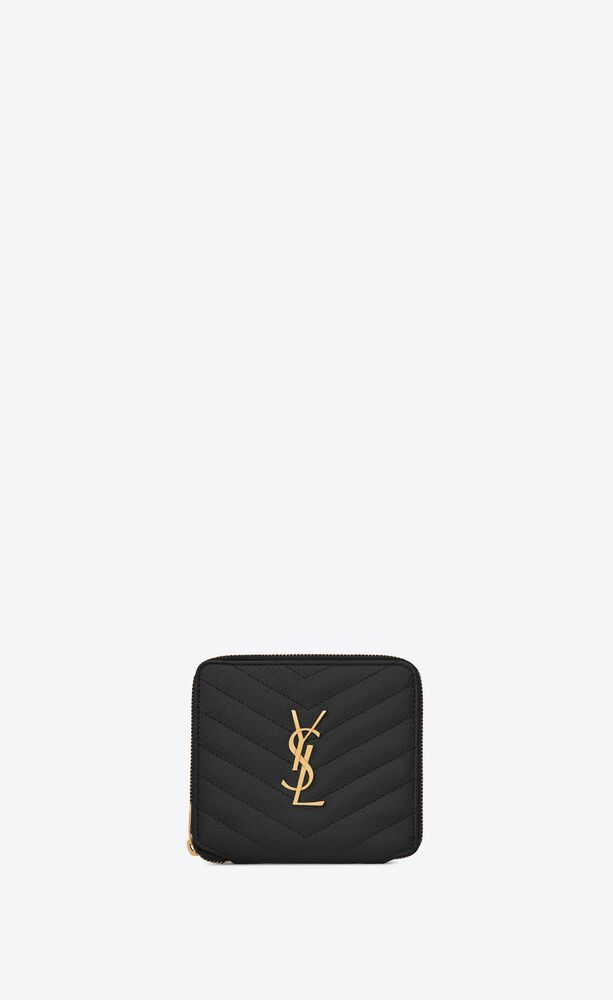 monogram compact zippered wallet in grain de poudre embossed leather