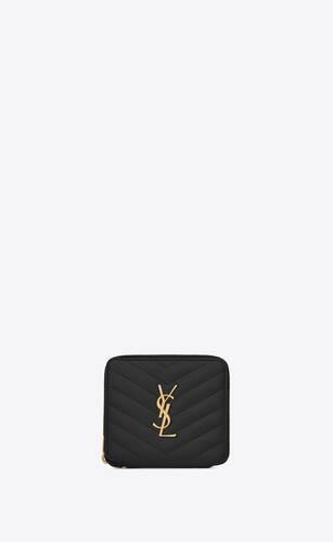 cartera compacta monograma con cremallera de piel repujada grain de poudre