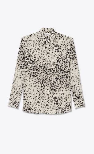 snow-leopard shirt in silk crepe de chine