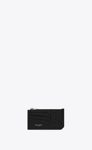 saint laurent paris porte-cartes zippé en cuir mat embossé crocodile avec pince à billets