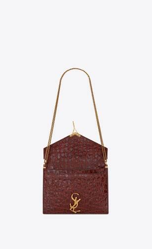 cassandra monogram bag in crocodile-embossed leather