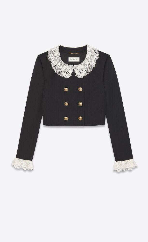 veste courte en tricotine et dentelle brodée