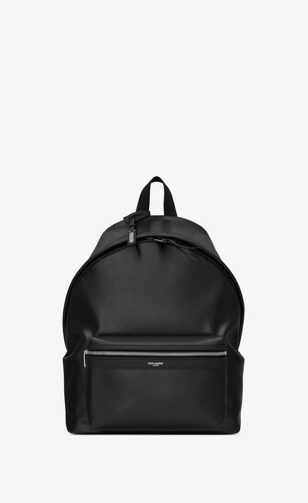 city backpack in shiny textured canvas