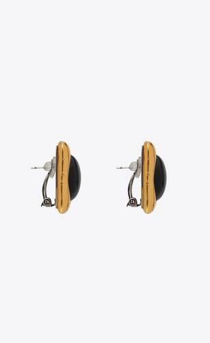 héritage boucles d'oreilles carrées cabochon vintage en céramique et verre