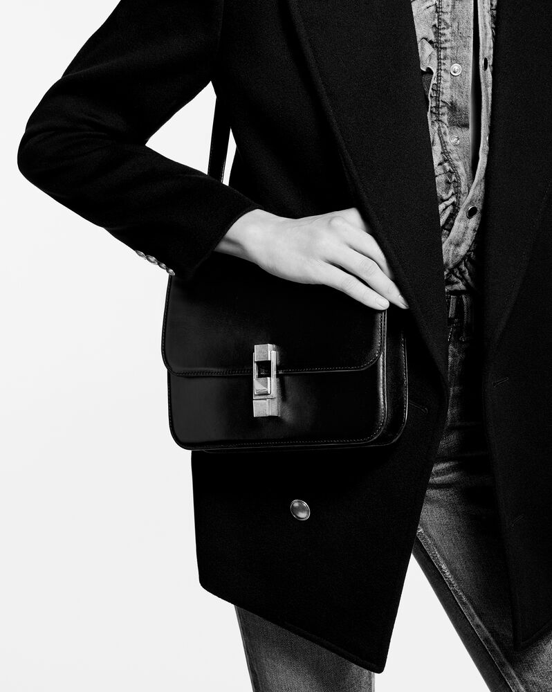 le carre satchel in box saint laurent leather