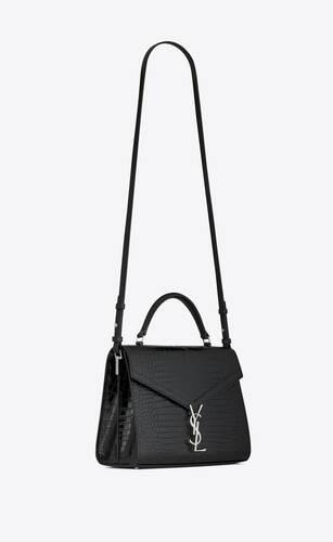 cassandra top handle medium bag in shiny crocodile-embossed leather