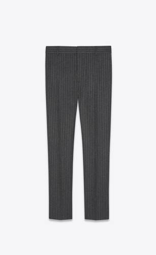 straight-leg pants in striped wool