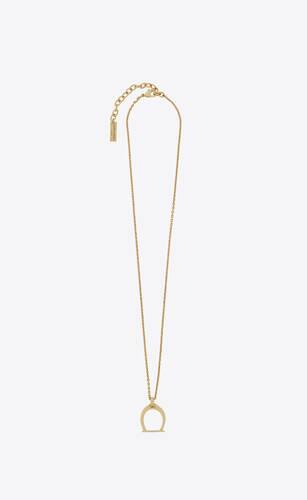 stirrup pendant necklace in metal