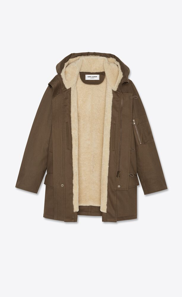 oversized parka in cotton gabardine and shearling