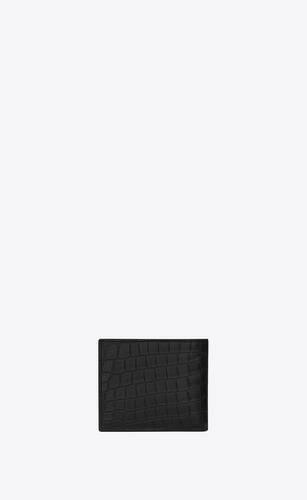 portefeuille saint laurent paris east/west en cuir embossé crocodile noir