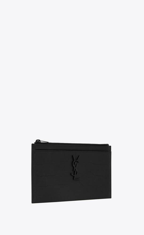 monogram bill pouch in crocodile embossed leather