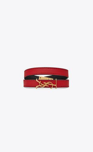opyum double wrap bracelet in red leather and gold-tone metal