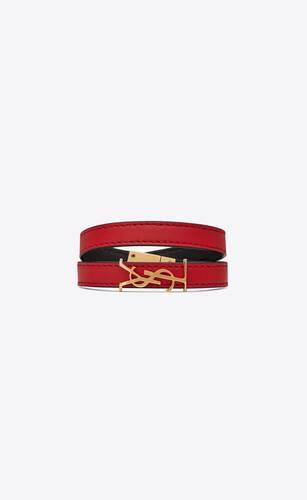 opyum bracelet double tour en cuir rouge et métal doré