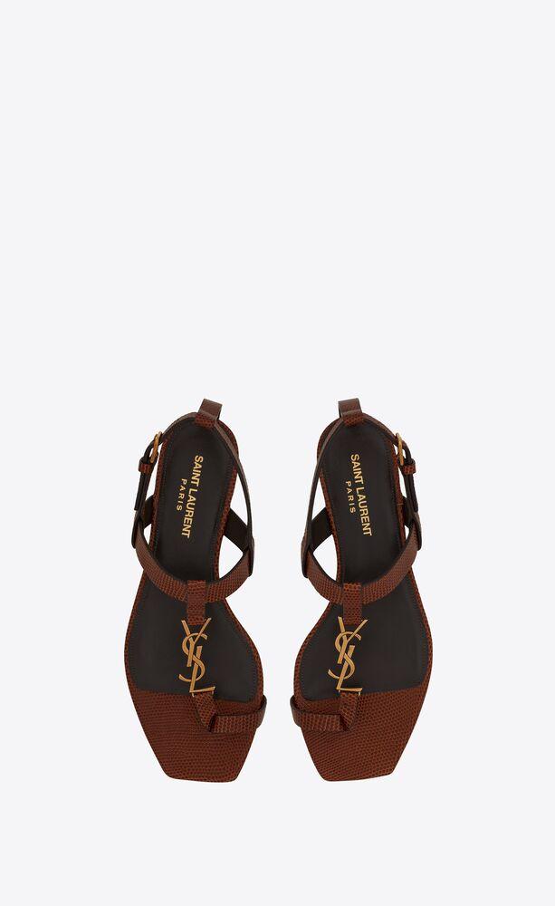 cassandra nu-pieds en cuir brillant embossé lézard et monogramme doré