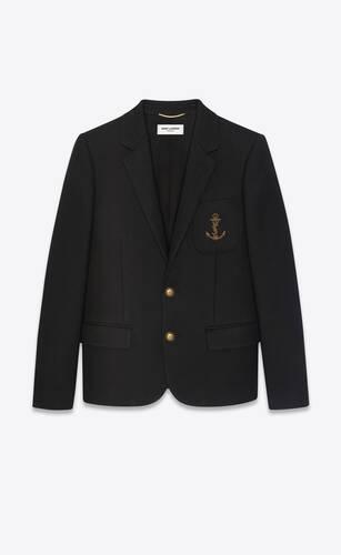chaqueta de fieltro de lana con ancla con monograma bordado