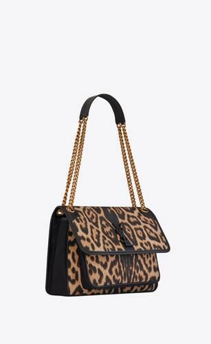 niki medium en cuir lisse et toile à imprimé léopard