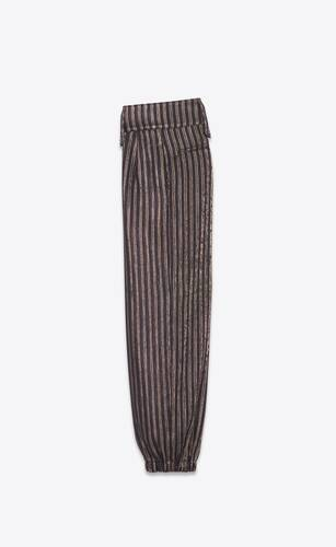 cargo pants in starry night lamé stripes