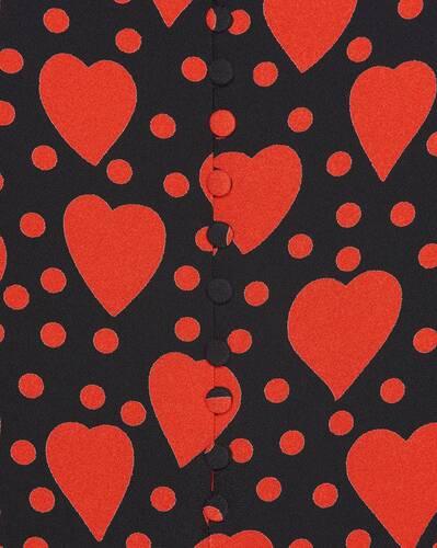 sleeveless dress in heart and dot-print sablé