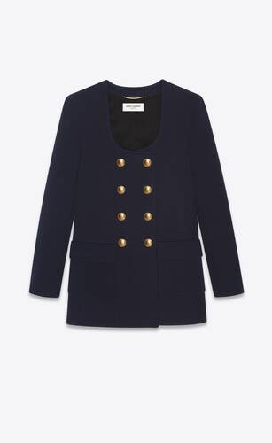 long u-neck jacket in wool jersey